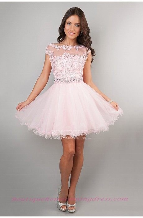 Line short/mini tull homecoming dress with beading
