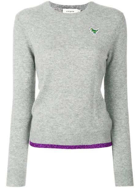 coach sweater crewneck sweater women grey