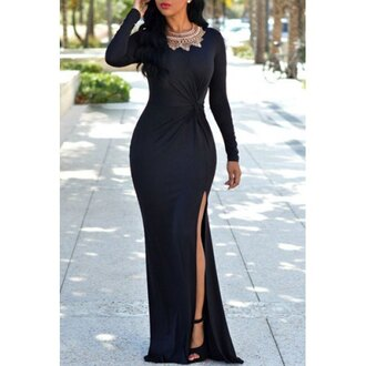 dress black maxi dress slit dress elegant scoop neck long sleeve black high slit ruched maxi dress for women long sleeves classy fashion rose wholesale rose wholesale-dec