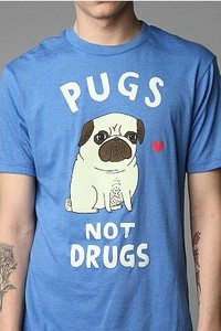 """New rare urban outfitters """"pugs not drugs"""" tee by gemma correlll medium usa top"""