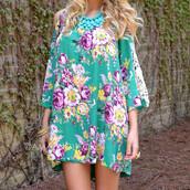 dress,floral dress,green dress,cold shoulder dress,cut-out,shift dress,spring,summer,pretty,trendy,feminine,tie back,applique,crochet