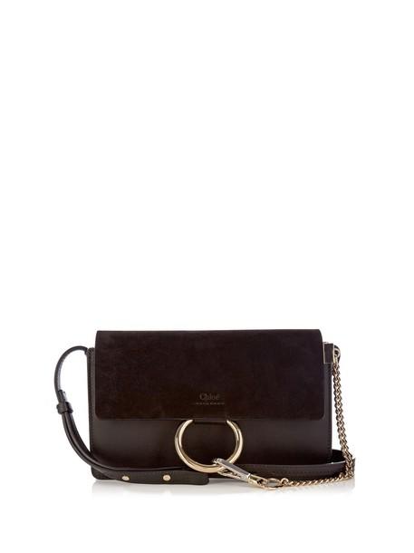 cross mini bag leather suede black