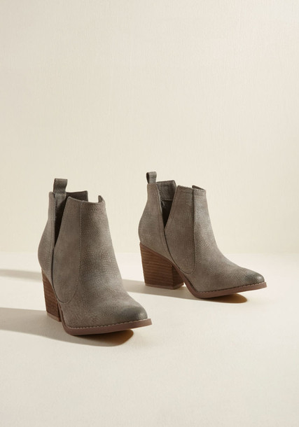 Shea fashion booties heels leather grey shoes