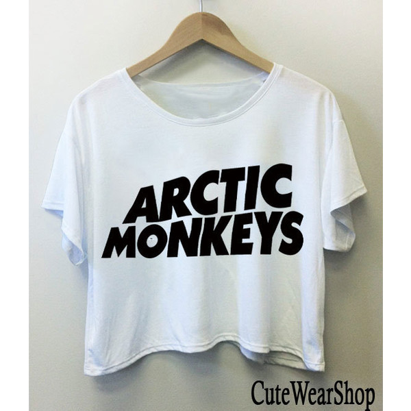 Arctic Monkeys Band Logo Crop Top Crop Tee Black and White Woman T Shirt All Size Fit to M/L (AMC1)