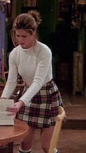 skirt,rachel green,rachel green from friends,plaid skirt,white sweater,sweater,girl,friends,ross geller,chandler,joey,monica,phoebe from friends,cute,nice,outfit,style,fashion,90s style,90s tv,tv,television,tv shows,coffee shop,central perk,rachel,jennifer aniston,jennifer aniston on friends,ross and rachel