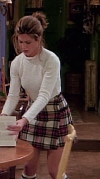 skirt rachel green rachel green from friends plaid skirt white sweater sweater girl friends ross geller chandler joey monica phoebe from friends cute nice outfit style fashion 90s style 90s tv tv television tv shows coffee shop central perk rachel jennifer aniston jennifer aniston on friends ross and rachel