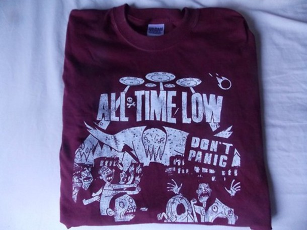 shirt all time low clothes t-shirt band t-shirt punk atl music sweater awesome! weather alex gaskarth jack barakat don't panic album band merch top