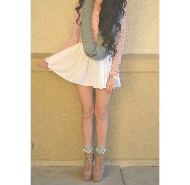 blouse skirt white skater skirt sweater brown light brown combat boots  boots combat brown combat brown a6ab4fbbe