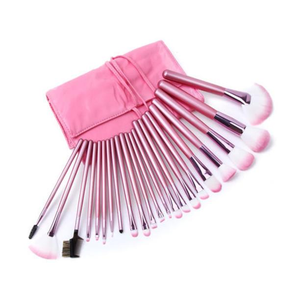 pink makeup brushes nail polish