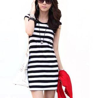 dress sexy minidress crewneck striped dress summerdresses