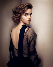 dress,emma watson,hermione,see through dress,polka dots,backless dress,gq