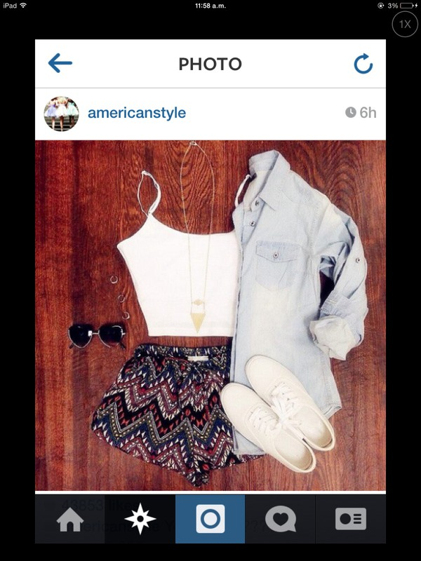 shorts crop tops denim shirt