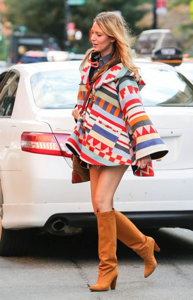 blake lively,boots,tribal cardigan,poncho