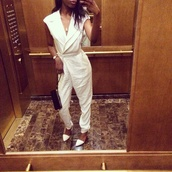 jumpsuit,cameo the label,australian brand,fashion,pants,pants suit,white,collared shirts,selfie,style,cute outfits,celebrity style,white suit
