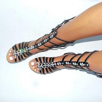 shoes sandals flatform sandals black shoes roses gladiators jewels