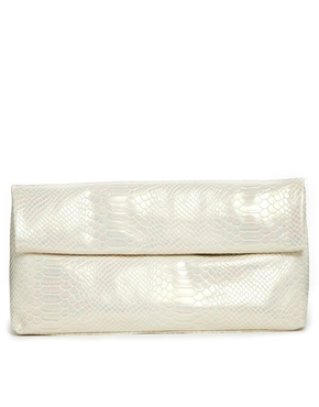 New Look | New Look Paper Bag Clutch Bag in Pearlised Finish at ASOS