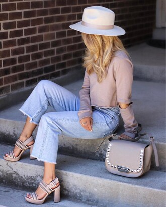 top tumblr crop tops nude top cut-out denim jeans blue jeans cropped jeans bag grey bag studs studded studded bag sandals sandal heels high heel sandals nude sandals thick heel platform sandals spring outfits hat white hat