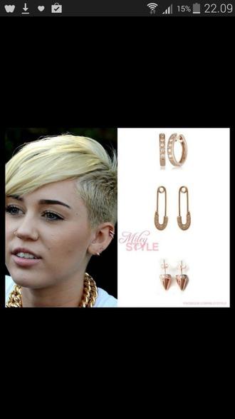 jewels miley cyrus gold earrings earrings