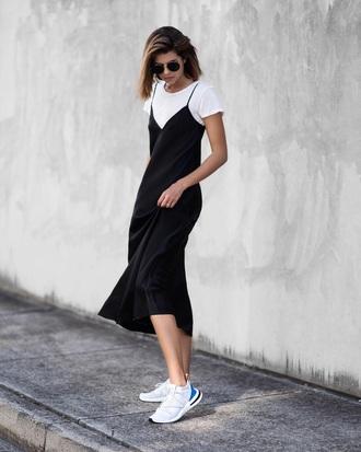 dress midi dress white sneakers sunglasses black dress slip dress white t-shirt t-shirt sneakers