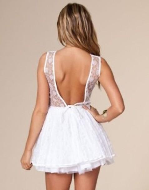 dress lace fashion lace dress white backless dress white dress cute dress tumblr tumblr dress short dress
