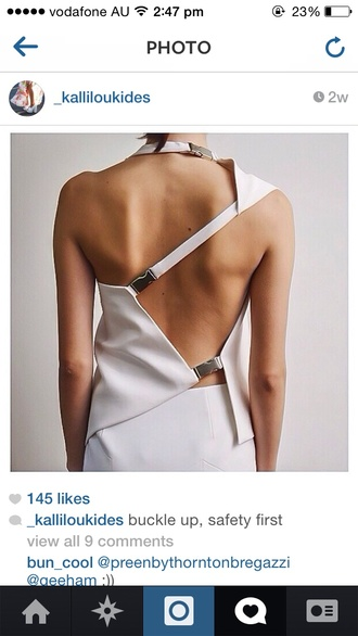 dress white white dress buckles silver backless