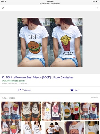 t-shirt best friend shirts hamburger fries best friends top matching shirts for best friends best friends burger and fries white t-shirt graphic tee