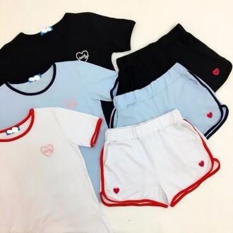 shorts top shirt blue white black two-piece sportswear comfy light blue sporty boogzel girl girly girly wishlist