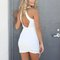 White plunge neck wrap front backless textured bodycon dress