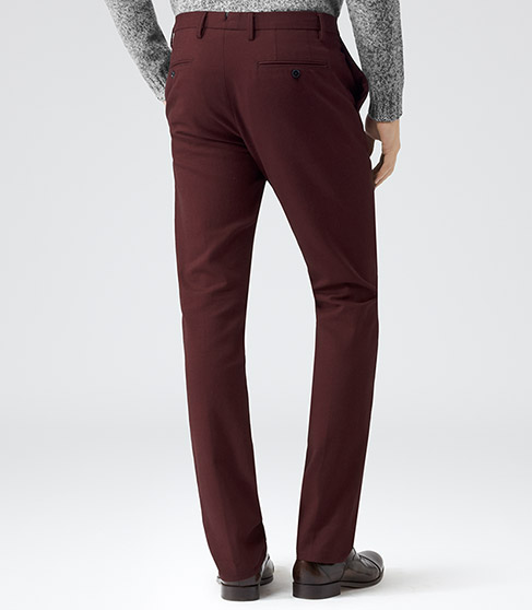 Legend Red Two Tone Formal Trousers - REISS