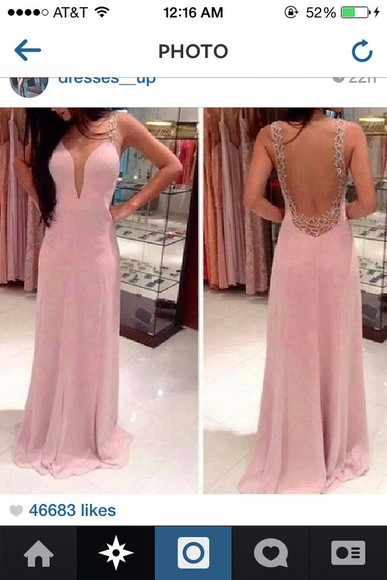 prom dress low cut back light pink backless dress long v cut