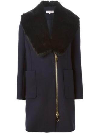 coat fur collar coat fur faux fur blue