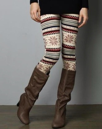 leggings pattern winter outfits boots tights fall outfits warm patterned leggings sweater weather cold chilly brown leather boots