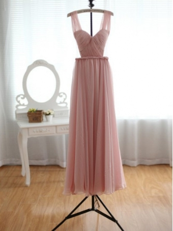 Blush Pink Chiffon Wedding Dress Bridesmaid Dress Prom Dress [B0034] - $179.00 : 24inshop