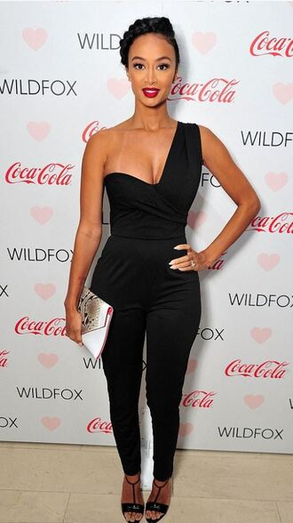 jumpsuit bustier draya michele all black everything one shoulder sandals