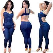 jumpsuit,denim,blue,tight,bustier