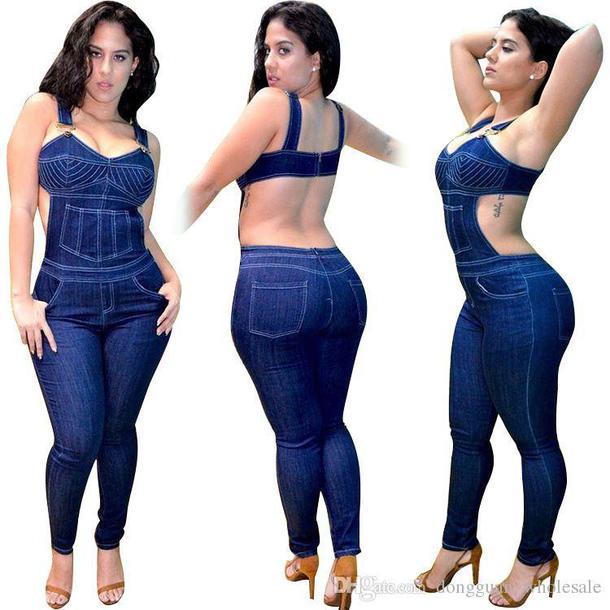 170c6b99db jumpsuit denim blue tight bustier