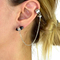 Black stone chain link ear cuff