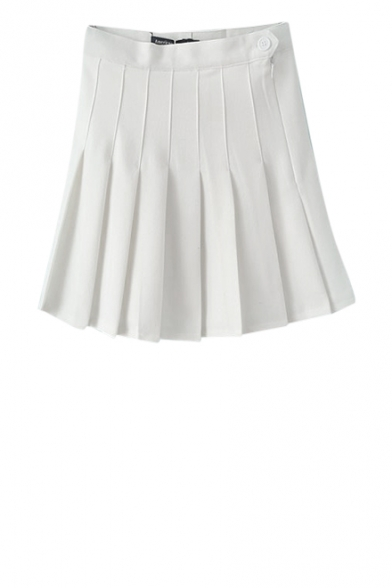 White High Waisted Pleated Skirt
