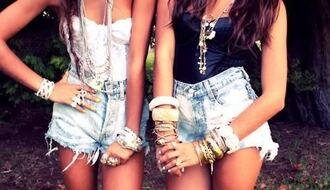 shorts bracelets bustier black and white tops cute denim cutoffs stacked bracelets tank top jewels
