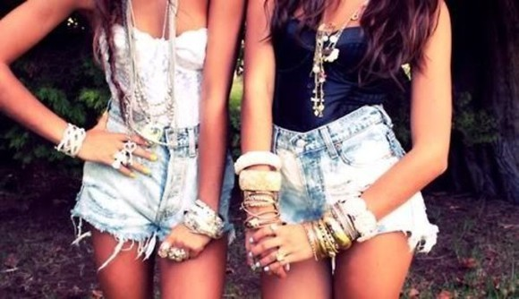 denim cutoffs shorts jewels tank top cute bracelets bustier black and white tops stacked bangles