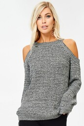 sweater,grey,cold shoulder,marled,cable knit