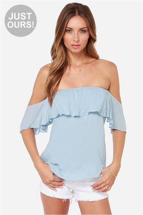 LULUS Exclusive Flutter You Doing? Off-the-Shoulder Blue Top