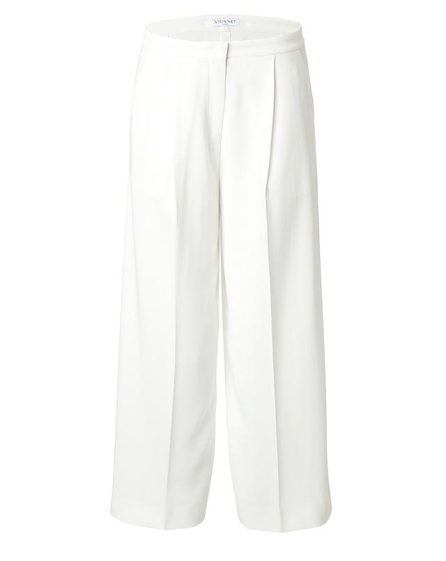 Crepe wide leg cropped pants