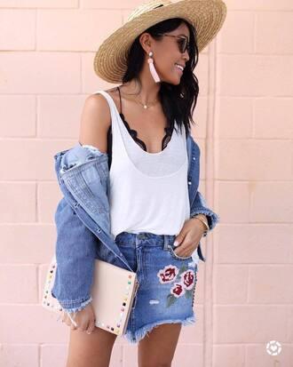 skirt hat tumblr mini skirt denim denim skirt top white tank top jacket denim jacket bag pouch sun hat earrings sunglasses