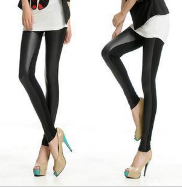 EAST KNITTING B50 Fashion Sexy Faux Leather Boots Pants Skinny Patchwork Leggings Black Free Shipping-in Socks & Hosiery from Apparel & Accessories on Aliexpress.com