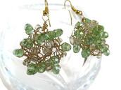 jewels,frivolous fun boutique,jewelry,earrings,dangle earrings,statement,statement earrings,large earrings,big earrings,green,green earrings,green jewelry,cluster,Wire Wrapped,crochet