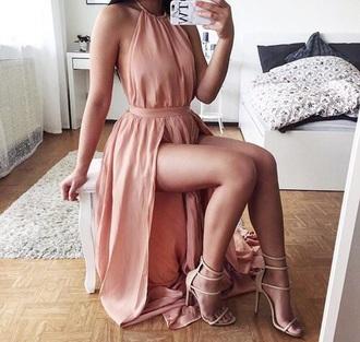 dress pink long dress maxi dress prom dress classy shoes all pink outfit pink dress flow halter dress pink prom dress high neck double slit nude dress cute dress cute pretty high neck dress blush pink