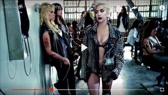 jacket leather jacket leather black lady gaga studded jacket