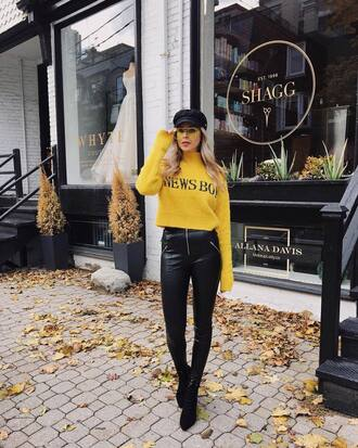 sweater tumblr yellow yellow sweater pants black pants leather pants black leather pants hat fisherman cap boots black boots
