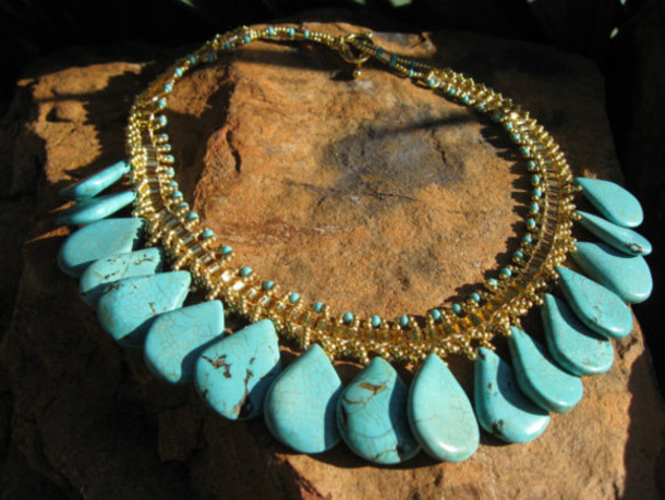 jewels turquoise statement fleurdesignz.etsy.com